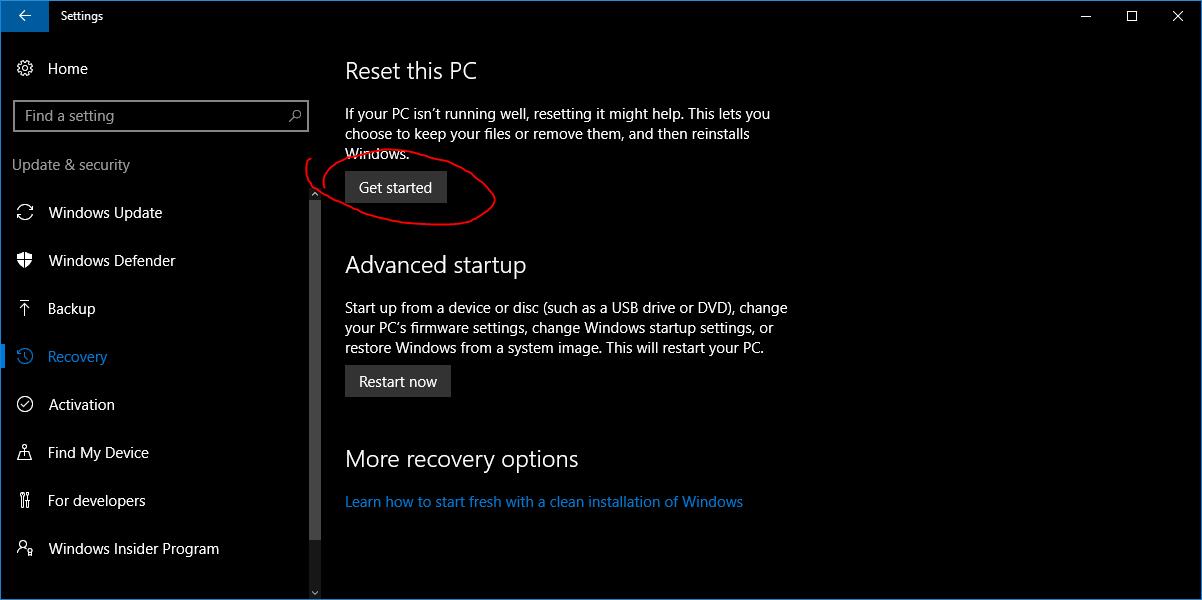 תמצאו את האפשרות לאתחל את המחשב ושם צריך ללחוץ להתחיל
